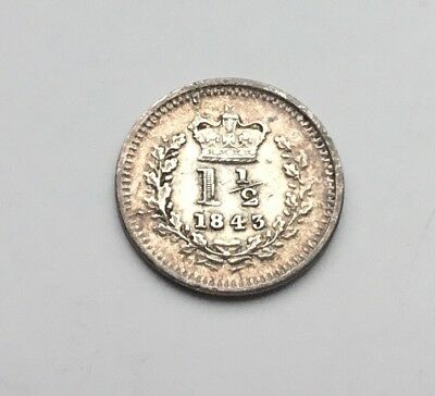 1843 Victoria Maundy one and half pence coin
