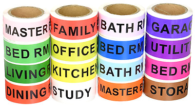 Home Moving Labels 4-Bedroom House Living Space 960  Count Color Coded Stickers