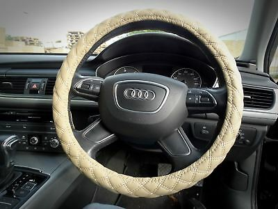Soft Thick Leather Car VAN Steering Wheel Cover Cross Stitching 38cm BEIGE
