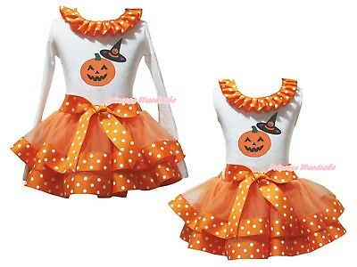 Pumpkin Hat White Top Orange White Dots Satin Trim Skirt Girls Outfit Set NB-8Y