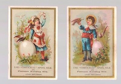 """Pair Of Victorian """"Corticelli Spool Silk Trade Cards  c: 1890's Woodstock VT"""