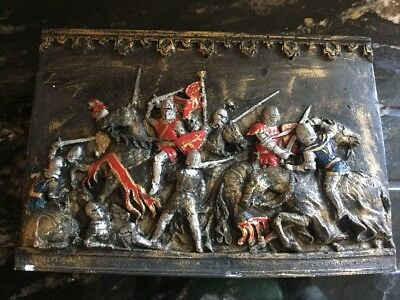 Vintage Plaster Wall Plaques Hangings Frieze Knights in Battle 32 cm by 22 cm