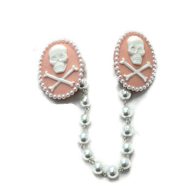 Pink Skull and Crossbones Cameo Sweater Clip