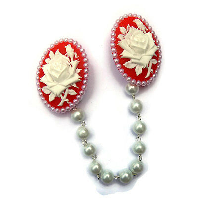 Red and White Rose Cameo Sweater Clip With White Pearls