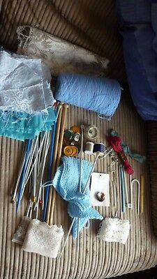 Sewing bag full of vintage items, fabric, knitting needles etc
