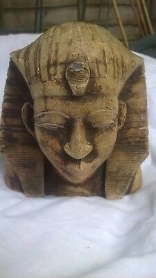 Antiques Collectable African Stone Tutankhamun Pharaoh Figurine Bust Statue