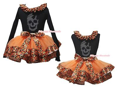 Rhinestone Skull Black Top Orange Pumpkin Satin Trim Skirt Girl Outfit Set NB-8Y