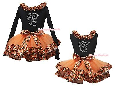 Rhinestone Boos Black Top Orange Pumpkin Satin Trim Skirt Girls Outfit Set NB-8Y