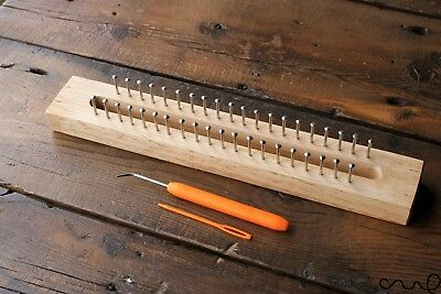40 Pin Wooden Knitting Loom Board Fine Gage Loom Hook & Needle Gift Set Kit