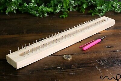 Handmade 62 Pins Wooden Knitting Loom Board Fine Gage Loom Hook & Needle Gift