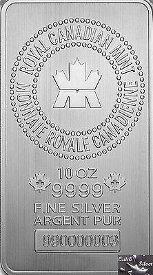 10 oz RCM Silver Bar  **Individually Serialized, and .9999 Fine**