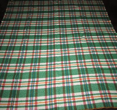 "BEAUTIFUL GREEN/RED AND WHITE SQUARED WOOL THROW  BLANKET    72"" X 80"" approx."