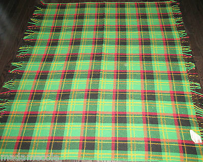 Vtg FRINGED  GREEN, RED AND BLACK  WOOL THROW BLANKET  BEAVER PRODUCT OF CANADA