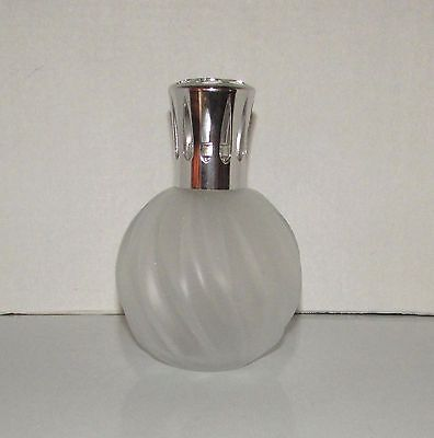 Vintage Beautiful  White Satin Swearl Glass Catalytic Berger Lamp France