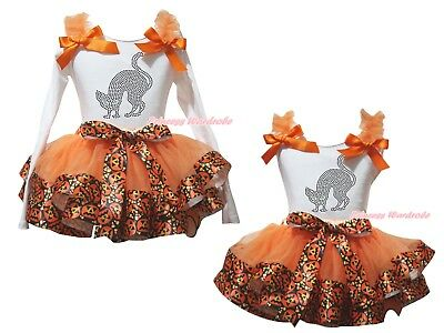 Black Cat White Cotton Top Orange Pumpkin Satin Trim Skirt Girl Outfit Set NB-8Y
