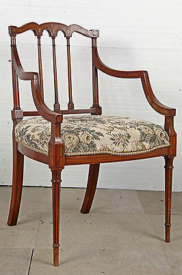 Sheraton Revival Satinwood & Inlaid Elbow Chair