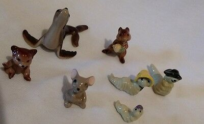 Hagen Renaker mini figures 7 items, seal, teddy, mouse + caterpillar family