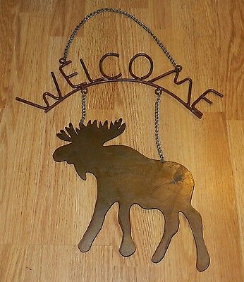 Cool Rustic Primitive Metal Moose Wecome Sign! Lodge Camping