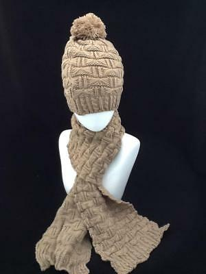Ladies Khaki Winter Hat And Scarf Set With Pom Pom Code: Whsbr01