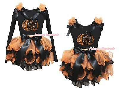 My Little Pumpkin Black Cotton Top Orange Black Petal Skirt Girls Outfit NB-8Y