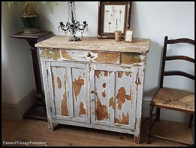 Stunning Antique Rustic French Country Farmhouse Original Painted Cupboard
