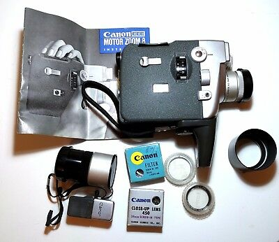 Vintage Canon Motor Zoom 8 EEE With Wide Angle Converter Lens, Case and Manual