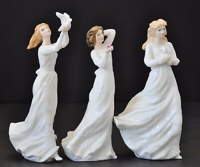ROYAL DOULTON SENTIMENTS 3x LOT LOVING YOU THINKING OF YOU WITH LOVE FIGURINES