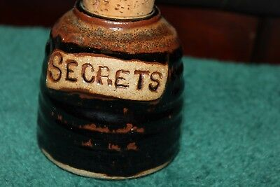 Vintage Brown Glazed Golden Age Pottery Secrets Jar Cork Top
