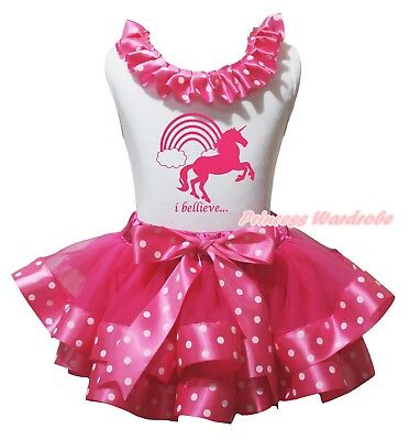 I Believe Unicorn White Top Hot Pink White Dots Trim Skirt Girl Outfit Set NB-8Y