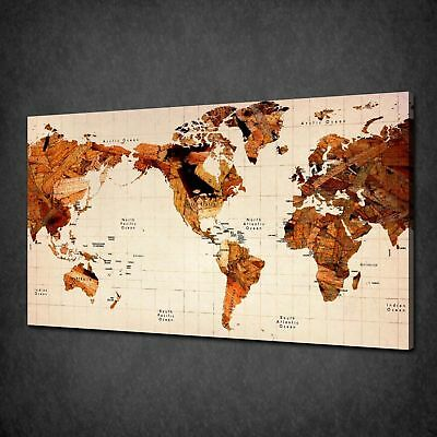 Modern wooden world map office home box canvas print wall art modern wooden world map office home box canvas print wall art picture gumiabroncs Choice Image