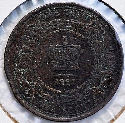 1861 Nova Scotia Canada One Cent Penny coin KM 8. RARE !