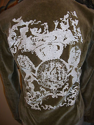 vintage Estafania casual olive steampunk velvet boho rock chic jacket 10-12