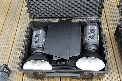 Two x Bowens Esprit Gemini GM 250 BW 3600 reflectors arms barn doors WT3434 case