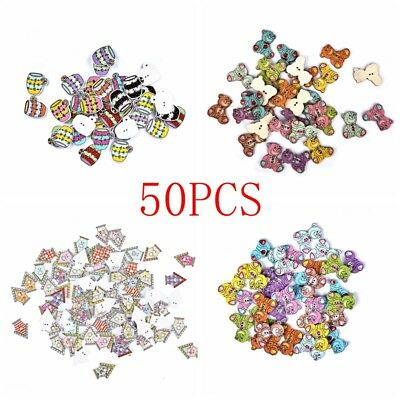 50Pc Christmas Assorted Animal Wooden Buttons Scrapbooking DIY Craft 2 Holes