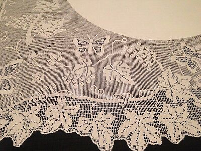 Vintage Hand Crochet MARY CARD GRAPVINE & BUTTERFLY Chart No 51 Lace Tablecloth