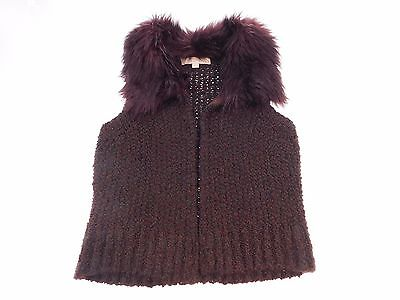 LOFT Womens Fur Vest Size S Small Chocolate Brown Fashion Outer Wear Sleeveless