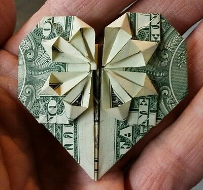 Heart made from us one dollar bill