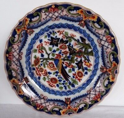 Assiette Decorative En Faience Makkum Hollande Decor Oiseau Sur Branche (C576)