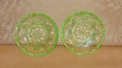 pair of matching vintage retro art deco uranium vaseline glass dessert  plates