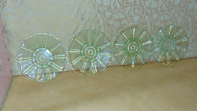 four matching vintage retro art deco uranium vaseline glass dessert side  plates