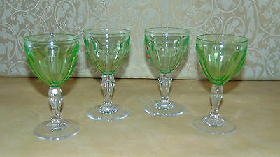 four matching vintage retro art deco uranium vaseline glass wine sherry glasses