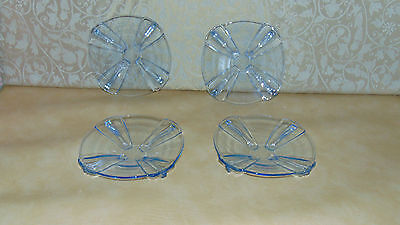 set of four matching vintage retro art deco dessert side  plates blue