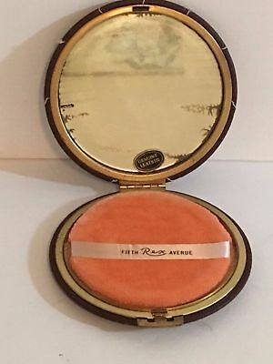 Vintage Fifth Avenue Rex Stitched Leather Compact - Circa 1940's & 50's