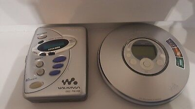 SONY LOT- 2-WALKMAN PORTABLE CD PLAYER DNE 319 WITH MP3 ATRAC AND FM/AM-working