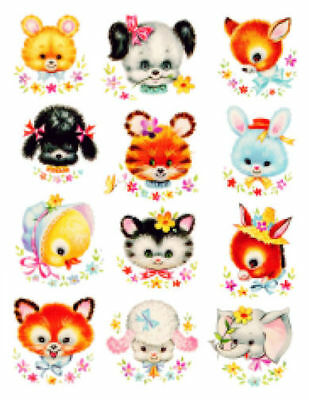 Vintage Image Retro Nursery Baby Animal Heads Assortment Transfers Decals AN598