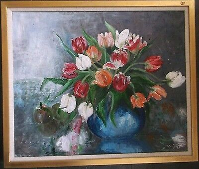 FRAMED OIL ON CANVAS PAINTING signed MAI GRIFFIO A STILL LIFE OF TULIPS FLOWERS