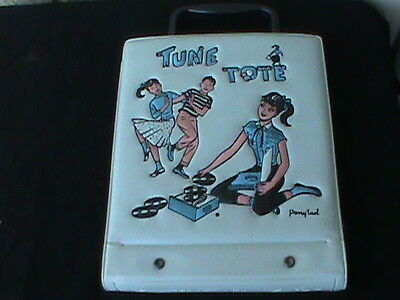 Vintage Blue Ponytail Tune Tote Record carry Case with 5 45rpm records