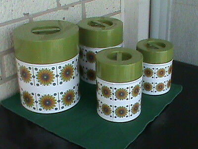 Vintage  Metal Cannister Set: 4 piece with lids. Never been used