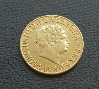 1818 George III Sovereign - 0.916 Gold - Sp 3785 - About VERY FINE
