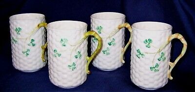 Belleek Shamrock - Basket Weave Coffee Mugs (4)